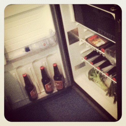 Our campervan fridge stocked with beers, meat and vegetables.
