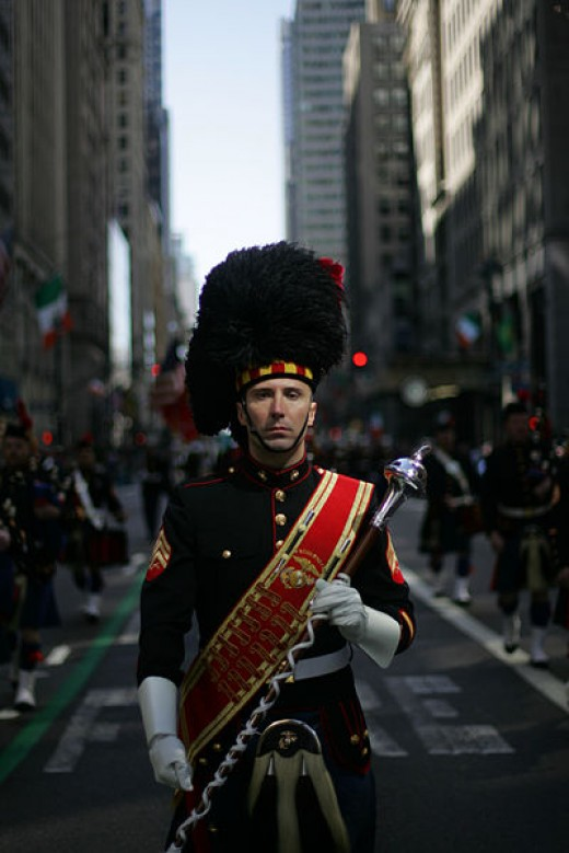 The Leatherneck Pipes & Drums was photographed by Sgt. Randall A. Clinton on March 17, 2010 at the 249th annual St. Patrick's Day Parade in New York City.