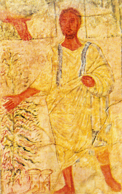 Moses and the Burning Bush, panel on the West wall of the Dura Europos Synagogue. When Moses heard the voice of God in a burning bush, he became convinced to obey God's command to lead the Israelites out of Egypt.
