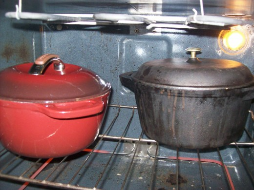 Cabbage roll pots in the oven
