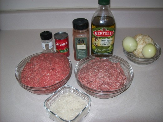 Ingredients for stuffed cabbage rolls