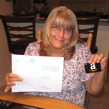 Judy with her Amazon Gift Card