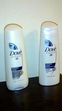 Dove shampoo and conditioner.