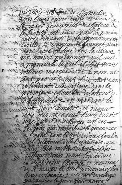 Official journal of Lieutenant Etienne du Junca detailing the arrival of the prisoner who would become known as The Man in the Iron Mask.