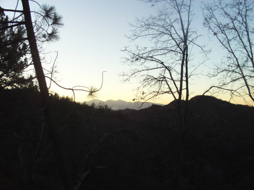 The view of Mount Baldy at sunset.