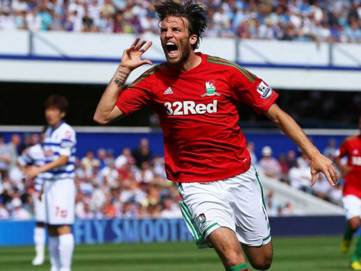 Michu after scoring vs QPR