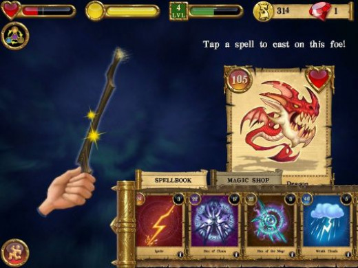 Spellcraft's simplistic touchscreen-based combat interface.