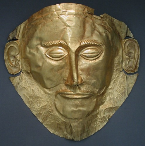 "Funeral mask also known as ""Agamemnon Mask"". Gold, found in Tomb V in Mycenae by Heinrich Schliemann (1876), XVIth century BC. National Archeological Museum, Athens."