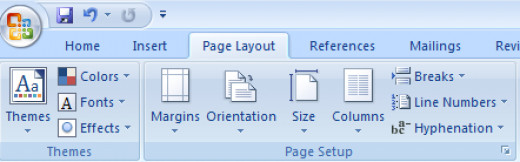 The Page Setup group on the Ribbon in Word 2007.