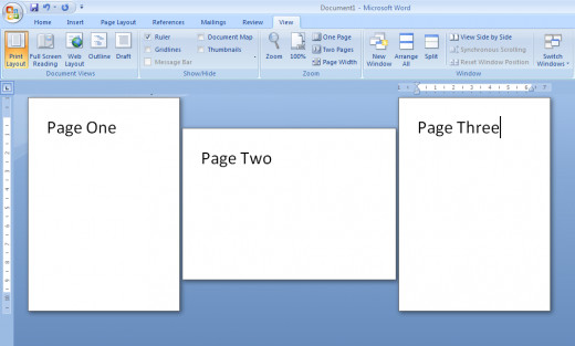 Illustration of the three sections created in Word 2007.