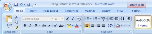 Format tab for formatting pictures in Word 2007.