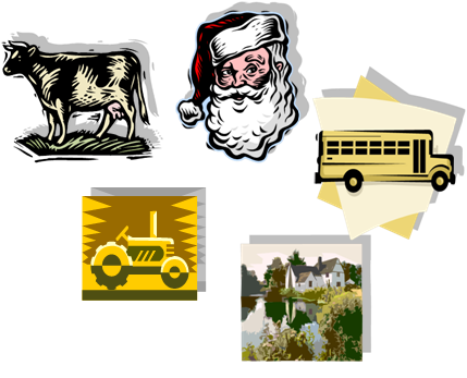 Grouped pictures in Word 2007. The group can now be formatted together.