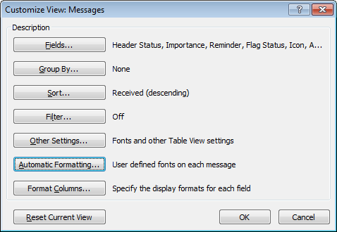 Using Automatic Formatting in Outlook 2007.
