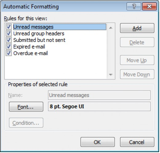Outlook 2007 uses Automatic Formatting natively for unread emails.