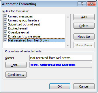 Working with multiple rules in Outlook 2007. Rules wizard shows the order rules are applied in.