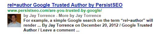Example of how the Trusted Author listing appears on Google.