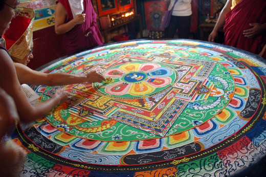 Buddhist Sand Mandala - Buddhists Create Elaborate Mandalas, Then Destroy Them to Demonstrate Life's Impermanence