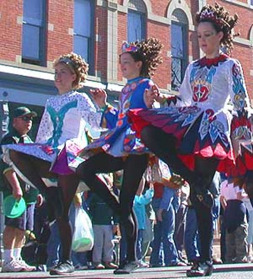 Matthew Trump photographed  young ladies performing Irish step dancing in a St. Patrick's Day Parade in Fort Collins, Colorado on March 12, 2005.