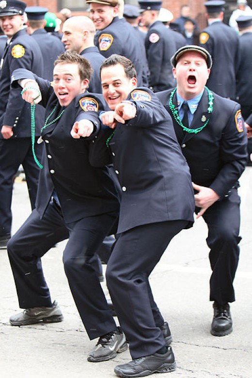 Eric Hill photographed police offciers in the Sant Patrick's Day Parade in Boston, Massachusetts on March 18, 2007.