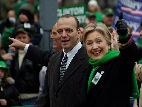 Dietzy2320 photographed Ed Rendell—then Governor of Pennsylvania, Dan Onorato—then Chief Executive of Allegheny County, and Hillary Clinton at the head of the St. Patrick's Day Parade in Pittsburgh, Pennsylvania on March 15, 2008.