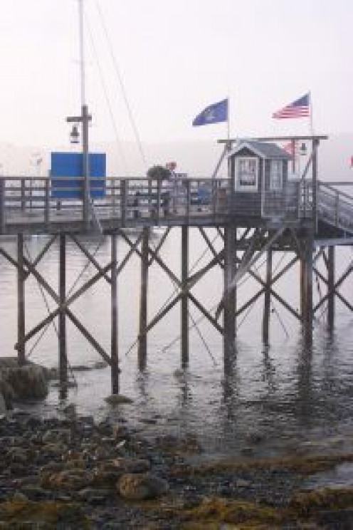 Bar Harbor Pier at low tide.