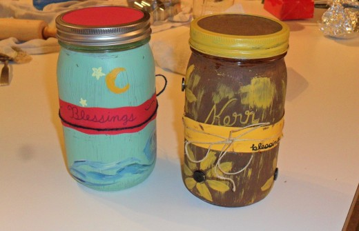 Hand painted blessing jars painted with acrylics