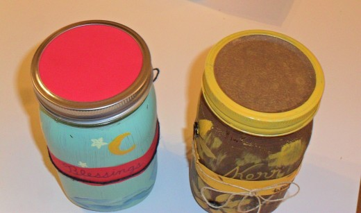 The tops of the jars are painted in coordinating colors.