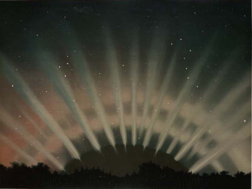 Artistic reproduction of an Aurora Borealis that occurred on March 1st, 1872.  That year and the two years just before it were very active years for both auroras and for large seismic events.