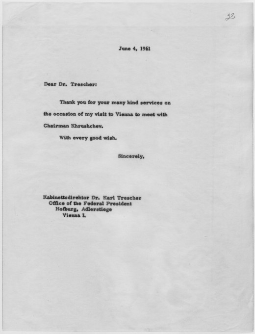 Thank you letter from John F. Kennedy