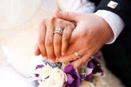 Wedding rings worn on the right hand.