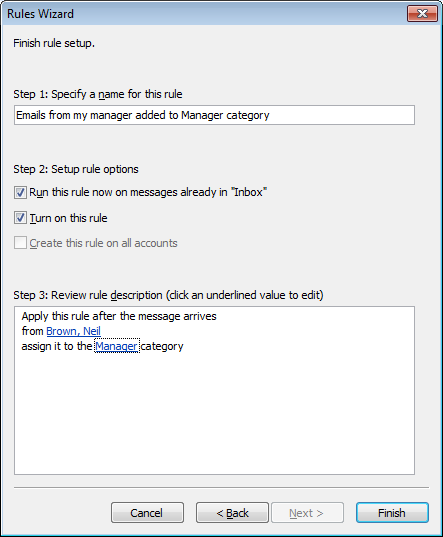Completed rule, created to add emails from a specific sender to a category in Outlook 2007.