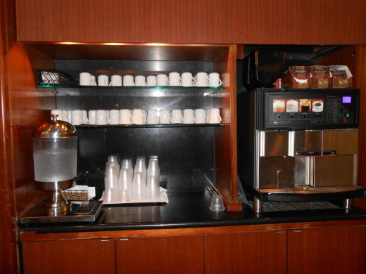 Coffee/tea bar at the United Club, O'Hare International Airport in Chicago, Illinois