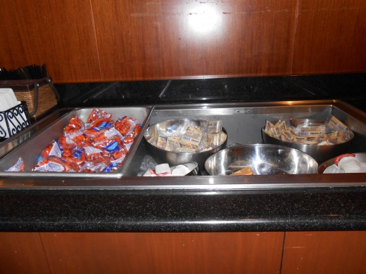 Snack food options at the United Club Room, O'Hare International Airport, Chicago, Illinois