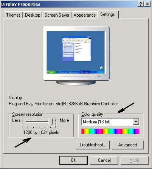 Display properties on Windows XP