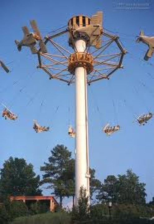 This ride is over 50 feet in the air and it gives you the feeling of flying in mini lanes.