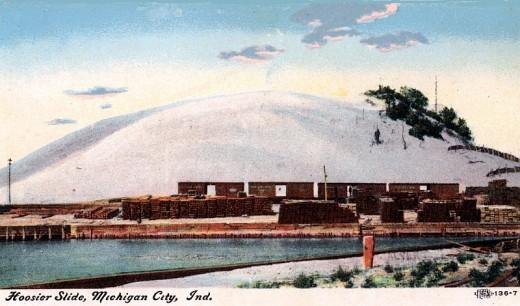 An early 1900s postcard of the Hoosier Slide