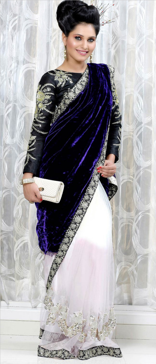 Saree with Velvet Pallu
