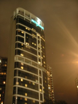 Night time view of the hotel