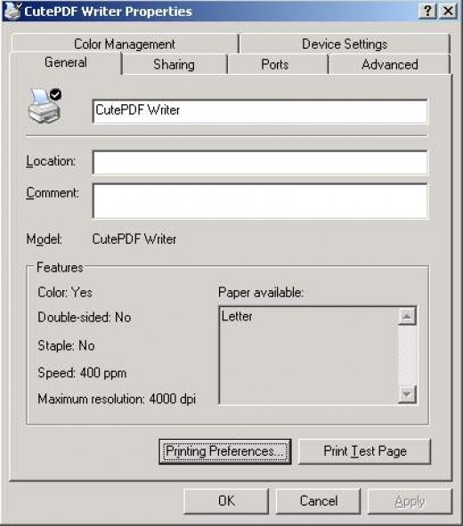 CutePDF - virtual printer properties