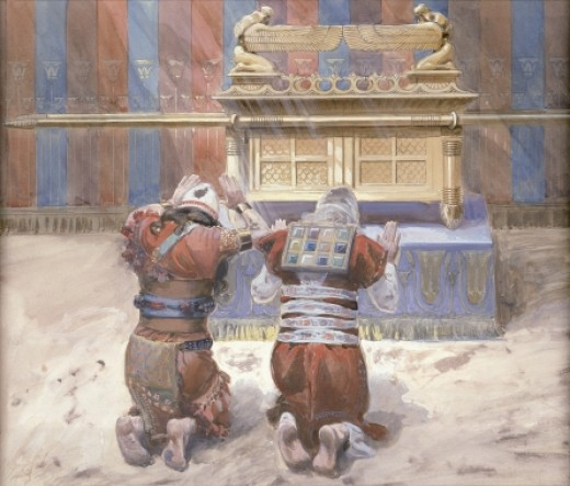 Painting of Moses and Joshua bowing before the Ark of the Covenant in the Tabernacle.  (1900)