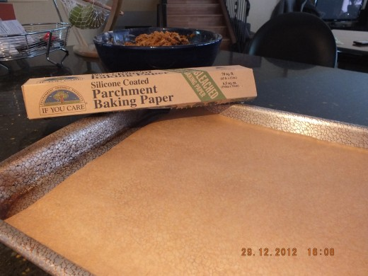 I love using parchment paper. They are no added calories from greasing your pan and clean-up is a snap.