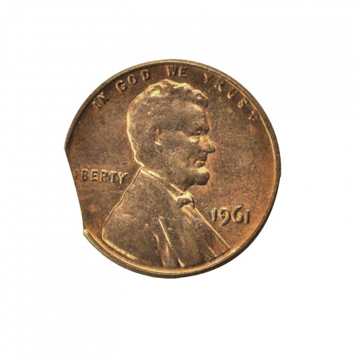 1961 clipped planchet Lincoln cent