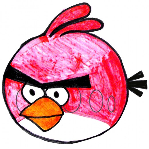 An example of the Red Bird colored with marker pens.