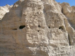 Caves at Ein Gedi, Dead Sea.  Could the Ark of the Covenant be hidden is a place like this?