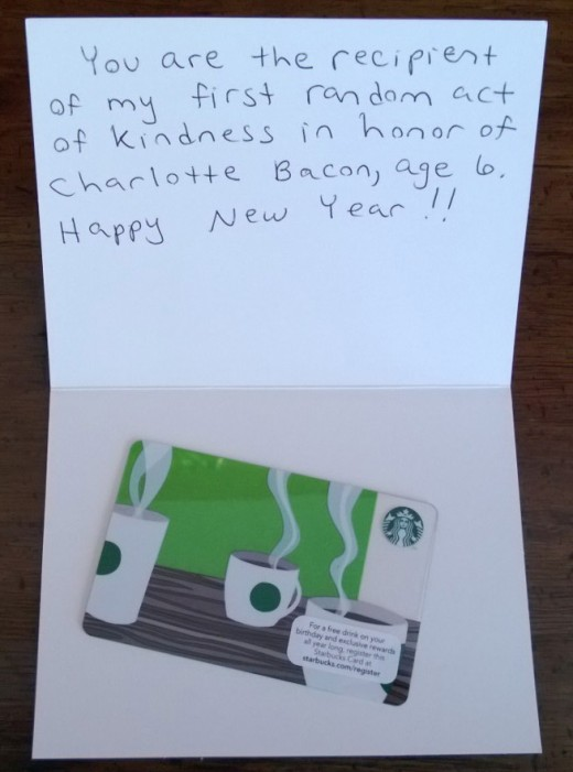 I gave this $10.00 gift card  to a lucky recipient this morning at Starbuck's.