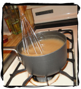 Simmer slowly, stirring frequently to avoid lumps. Gravy will thicken upon cooking.