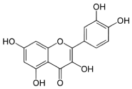 The chemical structure of the polyphenol flavonoid known as quercetin. Plants make other types of flavonoids that are also beneficial to health.