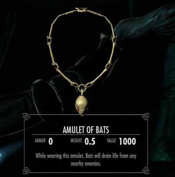 Skyrim Get Amulet of Bats