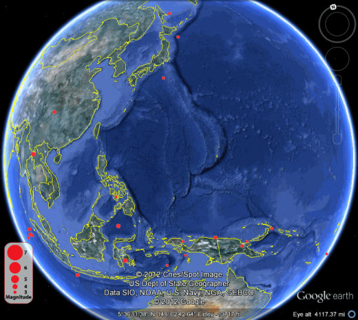 Earthquake data supplied by ISC web site.