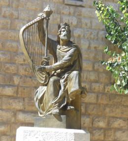 Sculpture of King David and harp, Old City, Jerusalem.